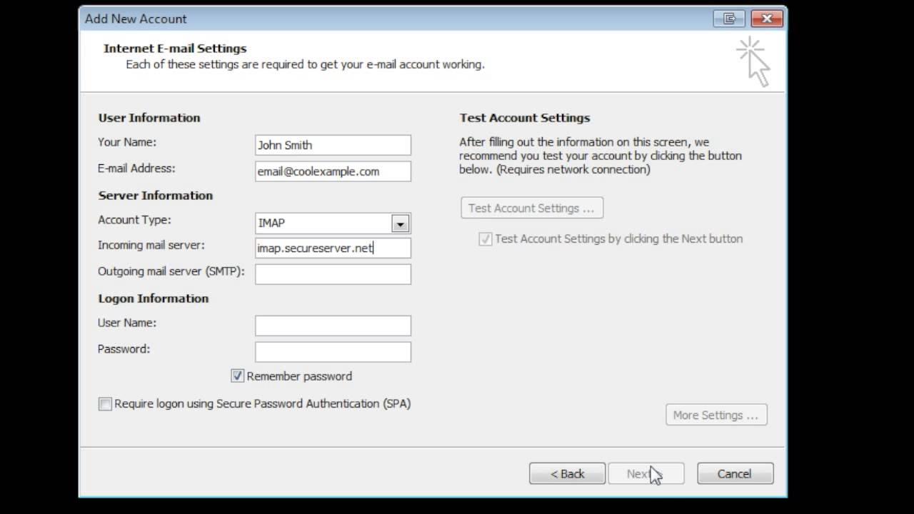 GoDaddy How-to - Outlook 2010: Setting up Email