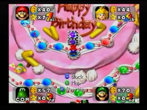 "Mario Party (1) - ""Peach's Birthday Cake"" - Full Board Game!"