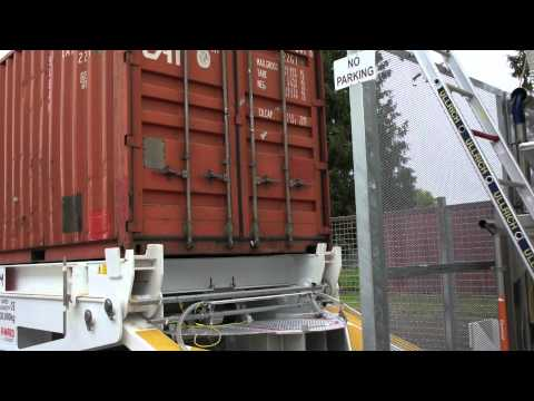Preparing to unload sugar from 20ft shipping container
