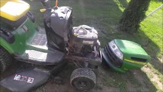 How to Remove Install Hood Top on John Deere Riding Lawnmower LA100