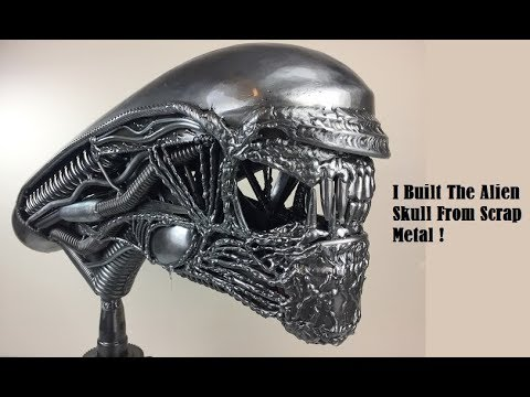 Time Lapse How to Weld a Giger ALIEN Skull from Scrap Recycled Metal