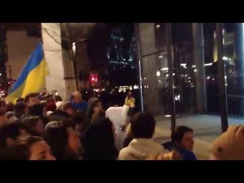 Euromaidan - Protest rally near Ukrainian oligarch Rinat Akhmetov mansion in London UK