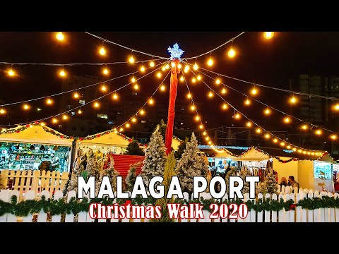 Malaga Port Christmas Walk, Spain 2020 [4K]