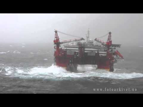 Accommodation platform Floatel Superior in Storm in the North Sea    YouTube1