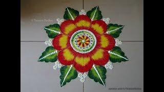 Very easy and big flower rangoli using fork   Easy rangoli designs by Poonam Borkar