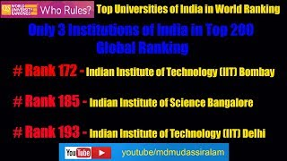 World Ranking of Indian University in 2020 l  IIT BOMBAY TOP in Indian Universities Rankinh