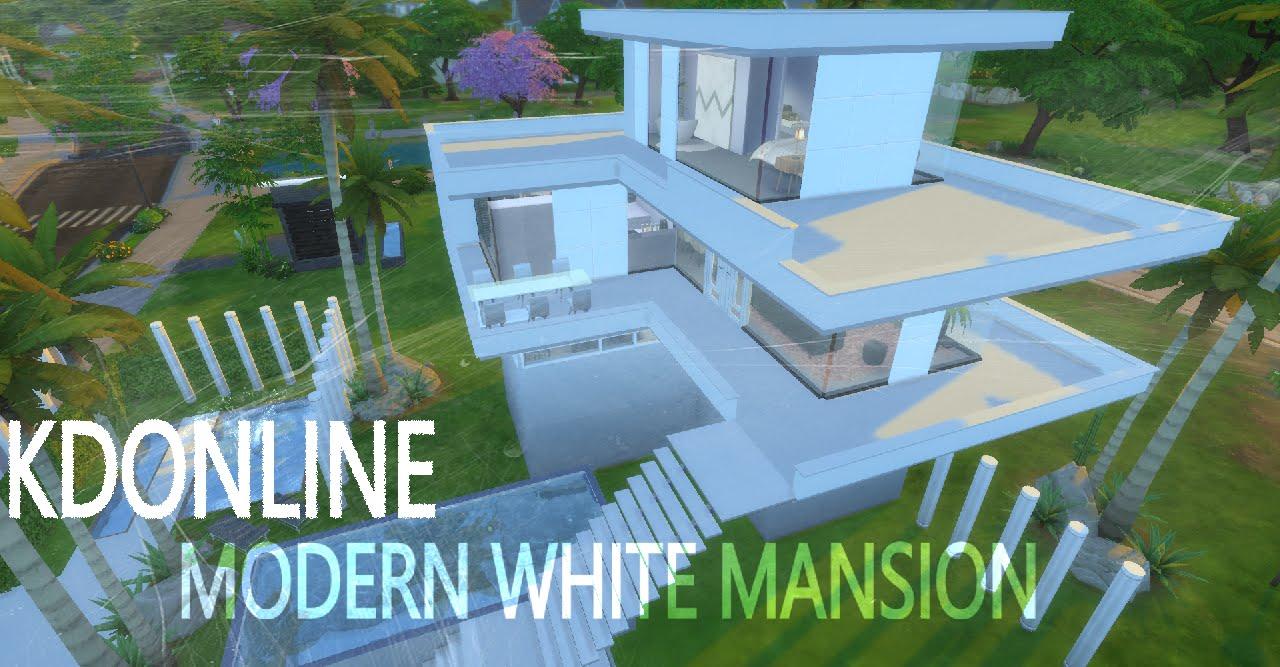 Modern white mansion sims 4