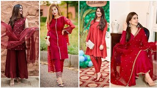 Gorgeous Red & Mehroon Formal/Semi-formal Dress Designing Ideas Collection