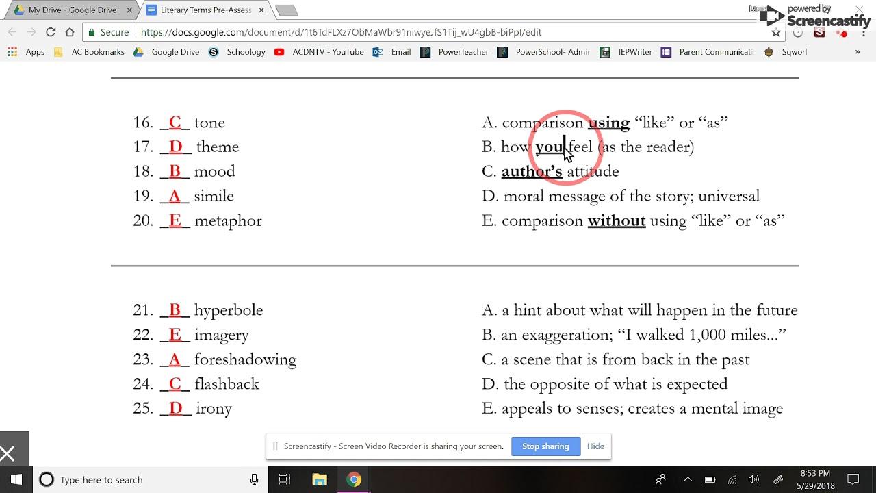Grammar/Literary Terms Final Exam Review