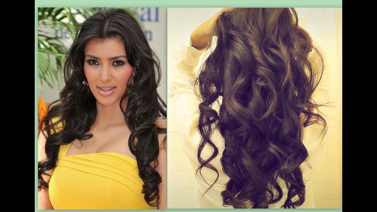 ☆ KIM KARDASHIAN HAIR TUTORIAL HOW TO CURL LONG HAIR
