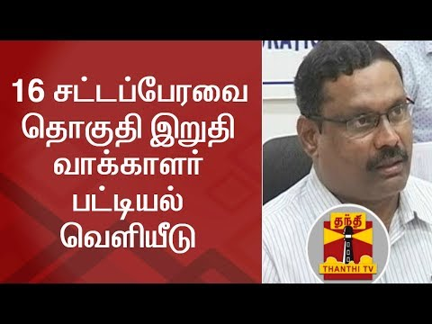 Final Electoral Roll published in Chennai District | Thanthi TV