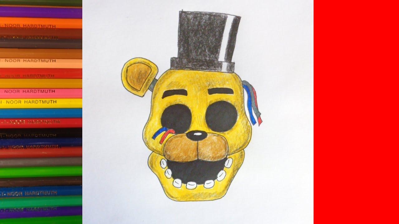 How to draw Golden Freddy, FNAF, Как нарисовать Голден Фредди
