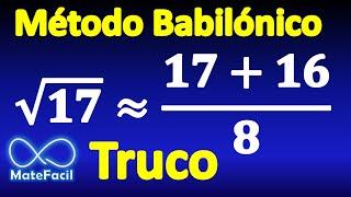 Calcular raíz cuadrada muy fácil sin calculadora (Método babilónico) (Ejemplo 1) thumbnail