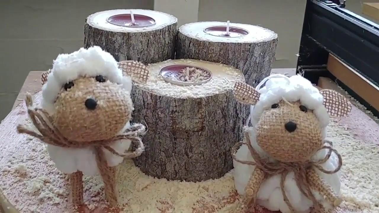 Adornos para velas de navidad usando troncos de madera for Adornos para pieza de bebe