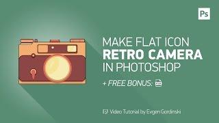 Make Flat Icon Retro Camera + FREE Psd - Photoshop Tutorial