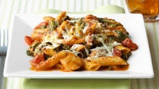Three Cheese Chicken Penne Pasta Bake