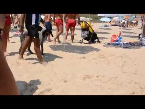 Bulgarian rescuers kicking russian tourists on South beach near Nessebar
