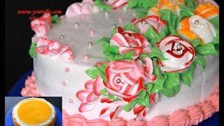 Торт с Фруктовой начинкой / Вкусный и красивый торт с цветами / Торт с белковым заварным кремом