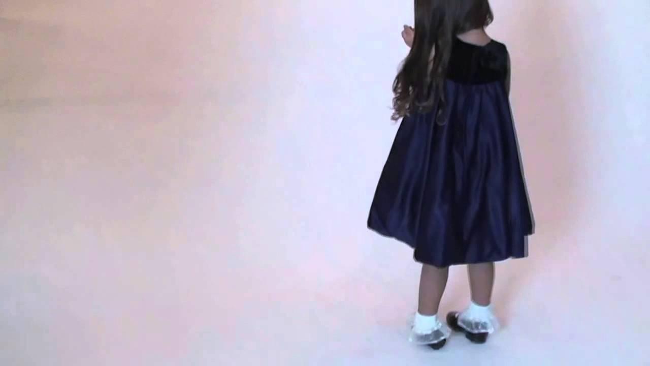 Flower Girl Dress Style Dn848 Satin Navy Blue Dress With Matching