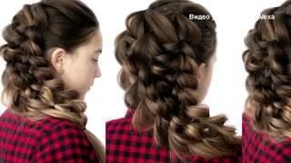 Объёмная коса  Воздушная причёска из косы на резиночках  Hair tutorial