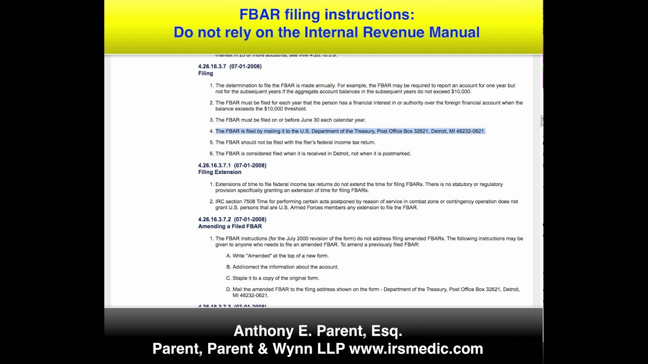 Fbar filing instructions dont follow the irm youtube fbar filing instructions dont follow the irm irs medic falaconquin