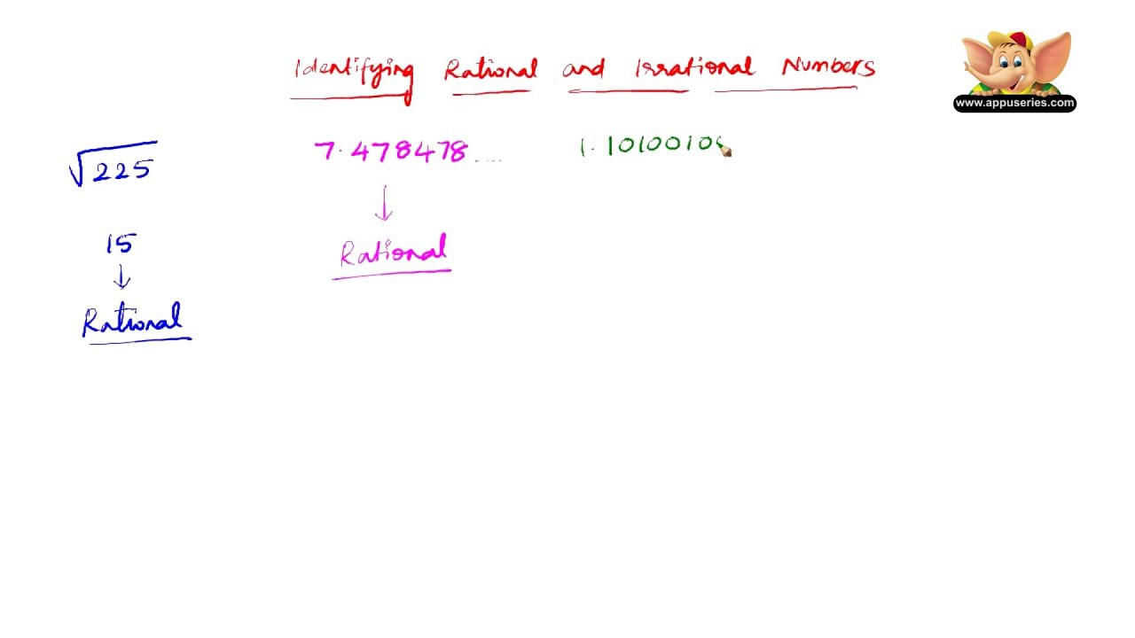 identifying rational numbers or irrational numbers