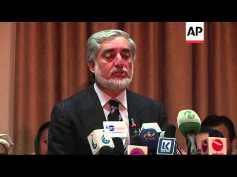 Presidential candidate Abdullah says legitimate outcome of election would be acceptable to all Afgha