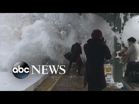 Thumbnail: Ultimate snowball fight as train barrels into station