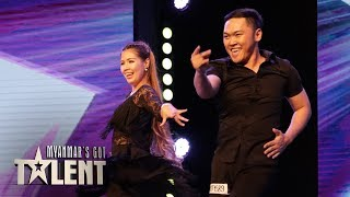 AMAZING LATIN DANCE! Ghizzy & May: Auditions | Myanmar's Got Talent 2018