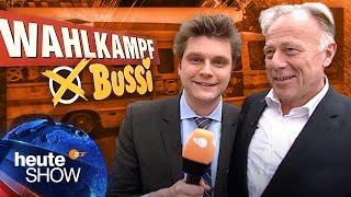 Lutz van der Horst im Wahlkampf-Bussi mit Jürgen Trittin