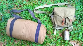 traditional 1900s bedroll haversack camping