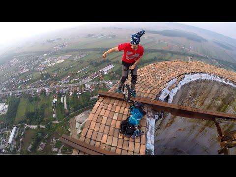 Unicycle on 256m Chimney in Targu Jiu