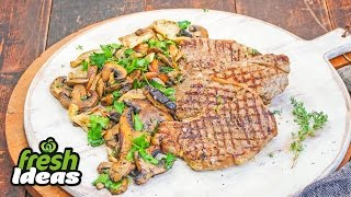 Bbq Rosemary Steak Recipe With Herbed Mushrooms - Woolworths Fresh Ideas
