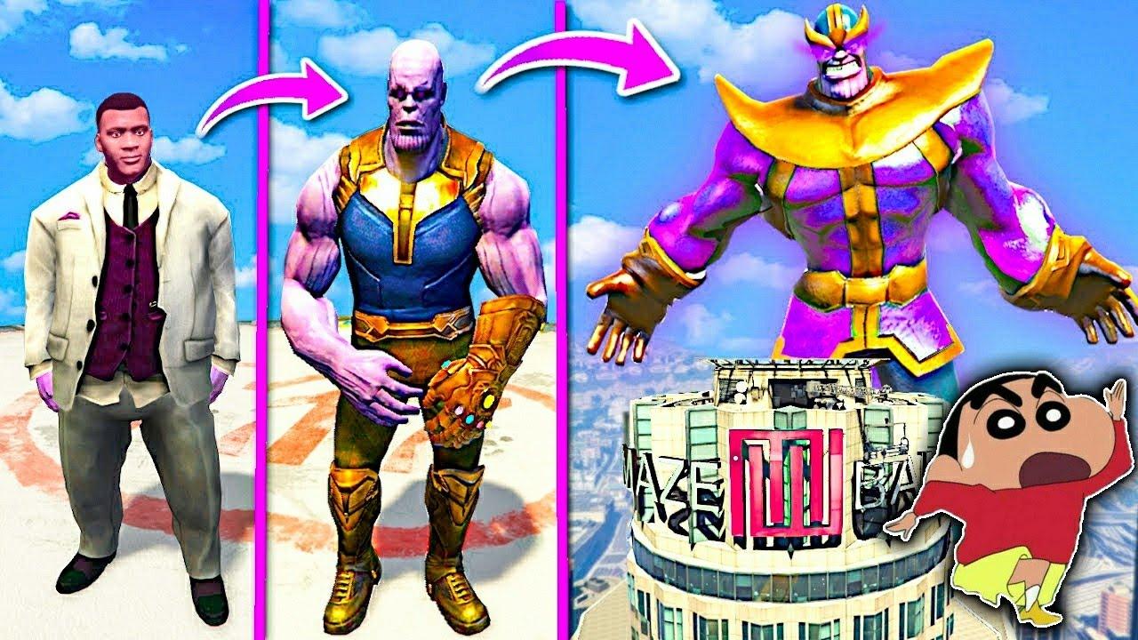 GTA-5 'SHINCHAN And FRANKLIN' Become GOD THANOS in GTA 5 (Powerful Thanos Destroy Los Santos)