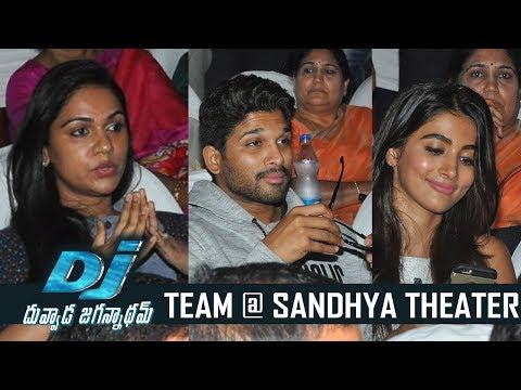 DJ Duvvada Jagannadham Team Watches Dj Movie @ Sandhya Theater | TFPC