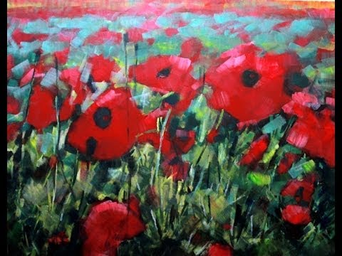 How to paint with acrylics field of poppies abstract realism poppy how to paint with acrylics field of poppies abstract realism poppy flowers on canvas mightylinksfo Image collections