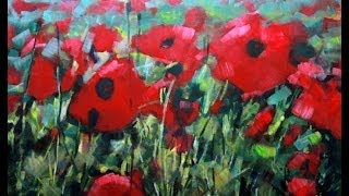 How to Paint with Acrylics: Field Of Poppies Abstract Realism. Poppy Flowers on canvas