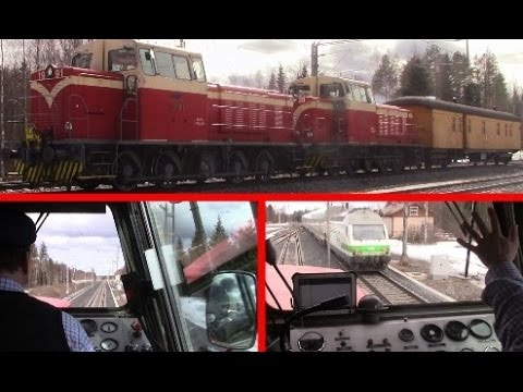 Finnish Dv15 diesel locomotive cabride from Ylivieska to Oulu