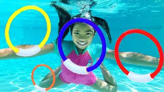 Kids Swimming Pool Challenge Pretend Play with Emma