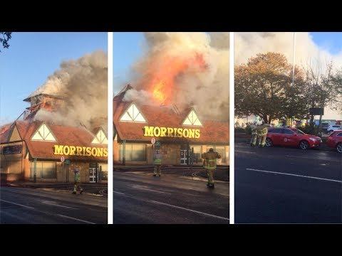 Morrisons Roof Collapses While On Fire In Kent