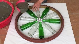 Amazing Idea    Make Coffee Table Glass bottle And Cement - Wishes Safety,Much Health