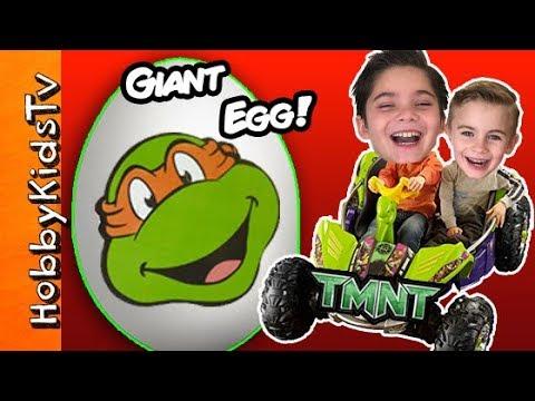 Worlds BIGGEST TMNT Surprise Egg! Dune Racer, Turtle Ooze + Bubbles HobbyKidsTV