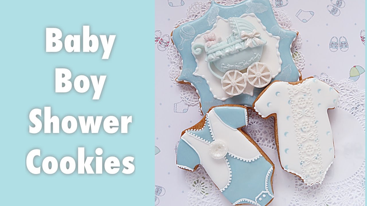 Baby Boy Shower Cookies Youtube