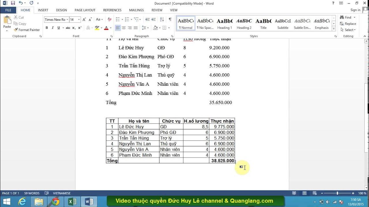 Cách copy bảng dữ liệu từ Excel sang Word