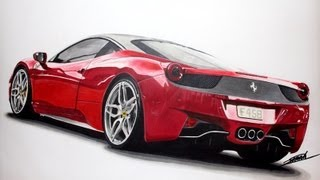 Ferrari 458 Italia Speed Drawing by Roman Miah
