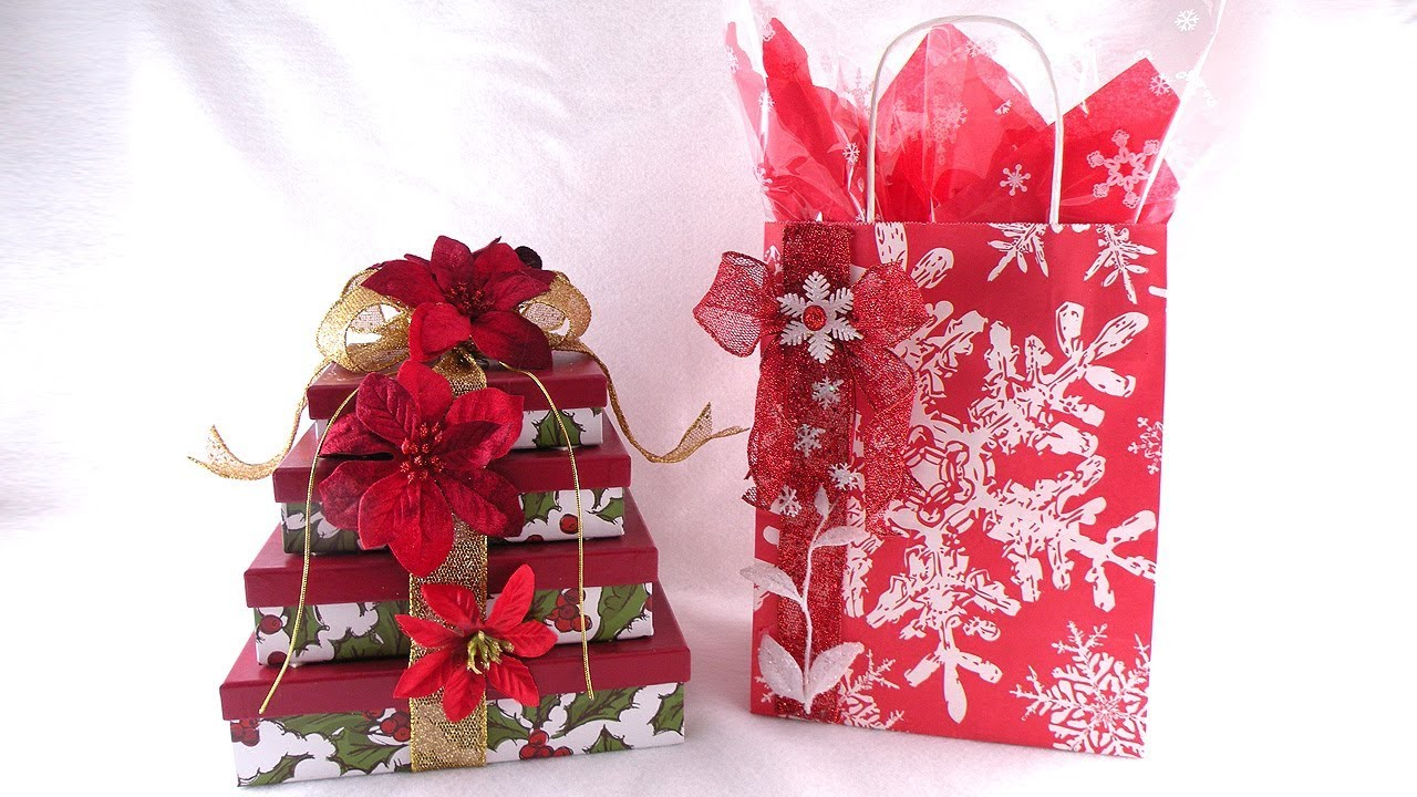how to decorate holiday gift boxes and snowflake gift bags