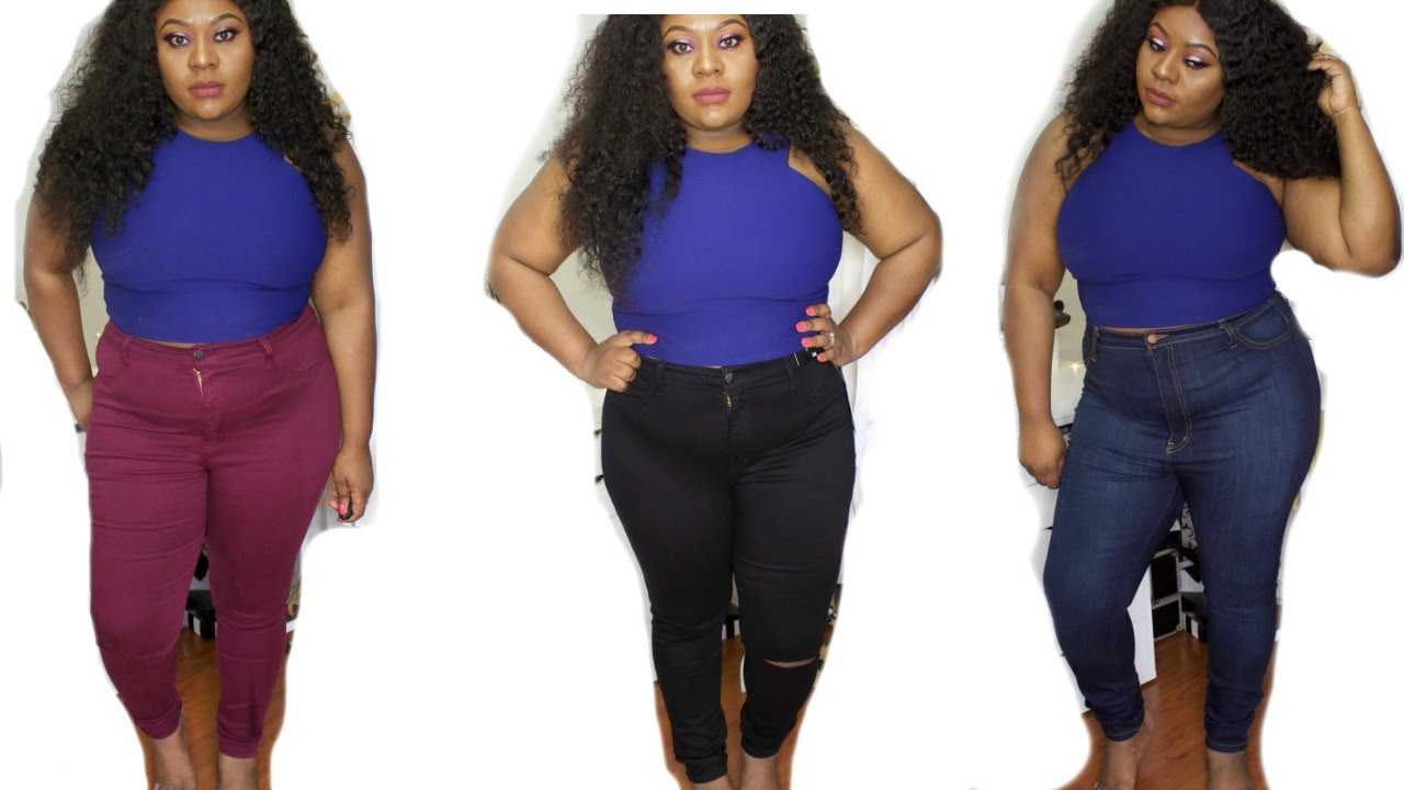 fashion nova plus size jeans try on - youtube
