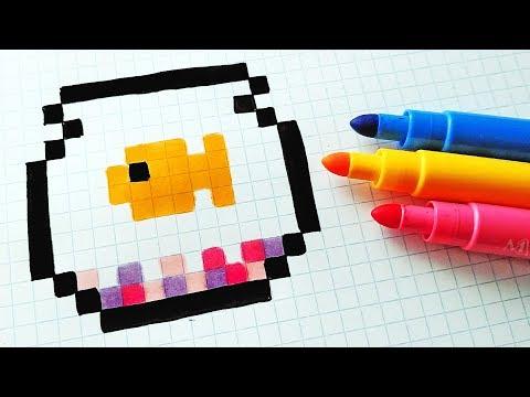Handmade Pixel Art - How To Draw a Fish #pixelart