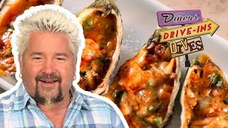 Grilled Stuffed Oysters | Diners, Drive-ins and Dives with Guy Fieri