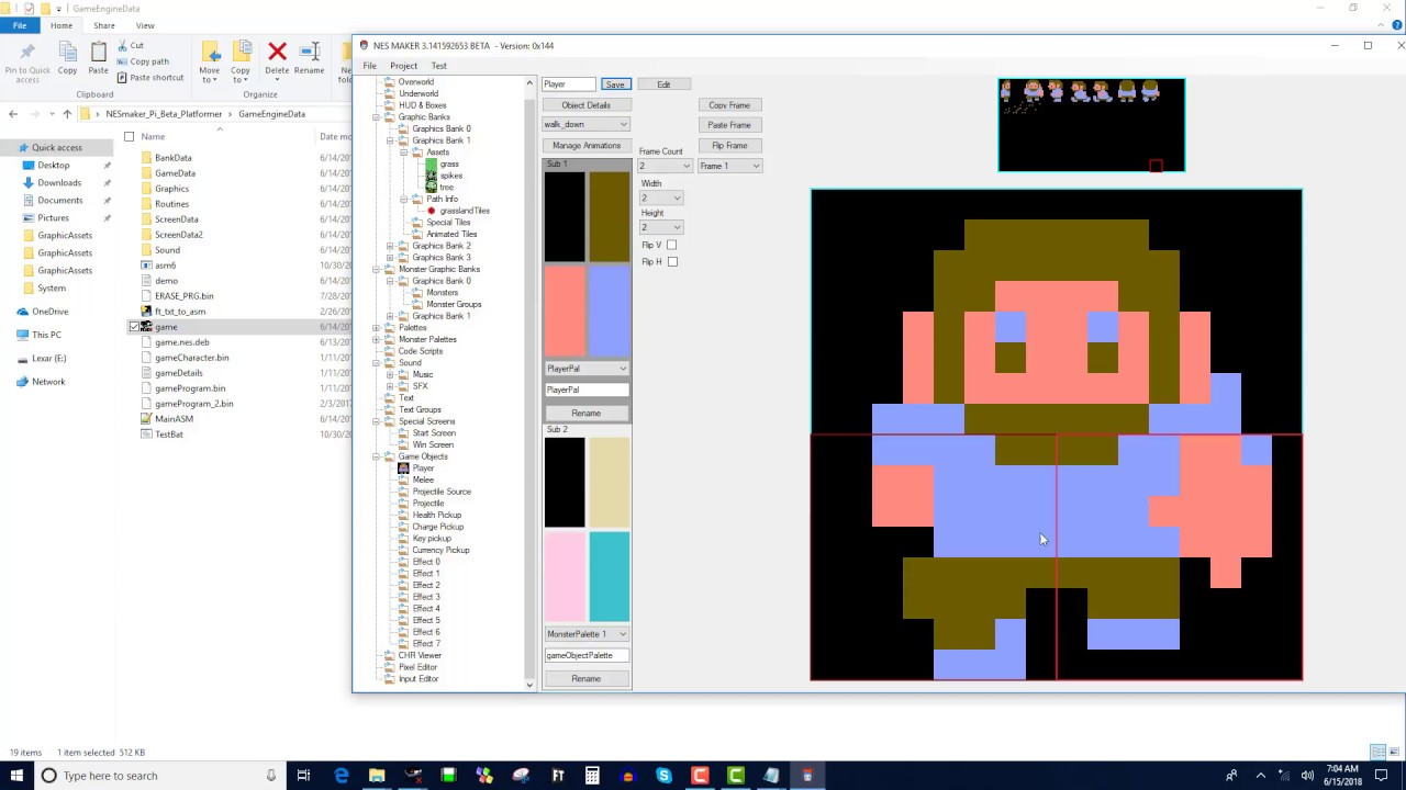 NESmaker 9 - (pi beta) Creating a player game object